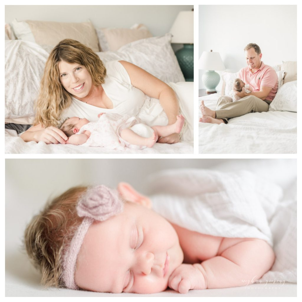 Lifestyle Newborn Photos featuring Mom and Dad with baby by Waverly Photographer, Meghan Goering Photography