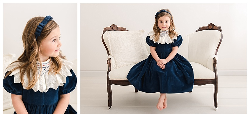 Collage of 5 year old girl getting her milestone photos taken with one profile photo and one of her sitting on a white velvet settee