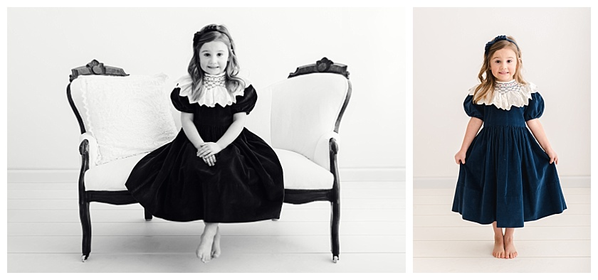 Collage of 5 Year Old Girl taking Milestone Portraits in Studio with one standing and one sitting on a white settee wearing a hand made velvet dress with smocking.
