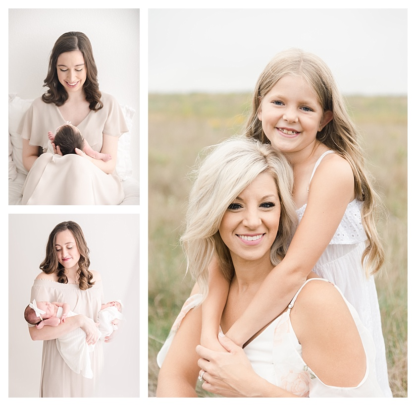 Collage of one mom with a newborn, one mom with twin baby girls, and one mom with an elementary aged daughter