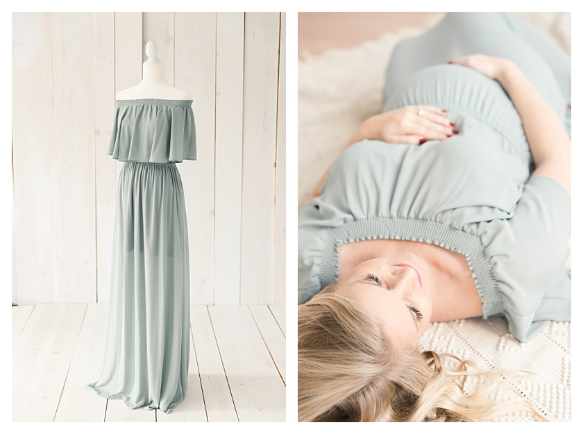Collage of Show Me Your Mumu Sage Green client dress and pregnant mom taking maternity photos
