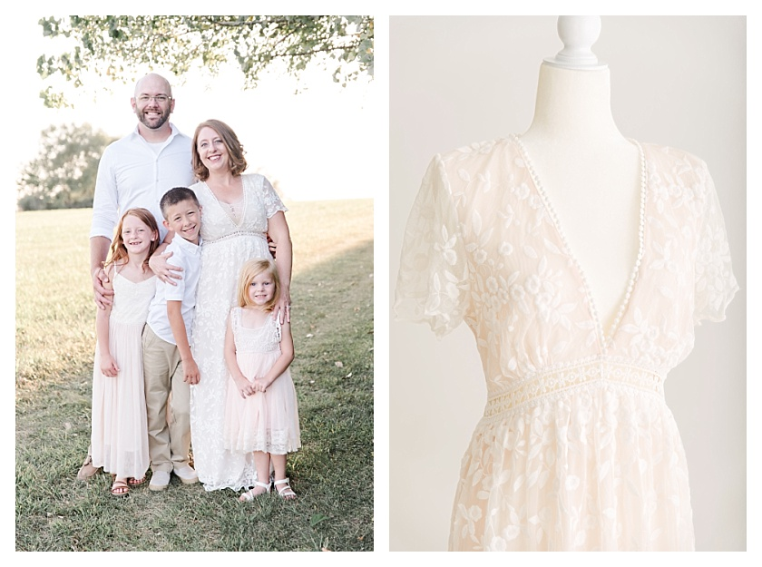 Collage of Vici Dolls dress and outdoor light and airy family of 5 photo