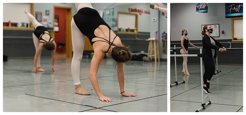 Collage of dancer stretching at National Dance Academy ballet class and instructor leading class