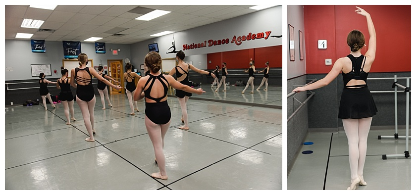 Collage of ballet dancers at national dance academy practicing and dancing