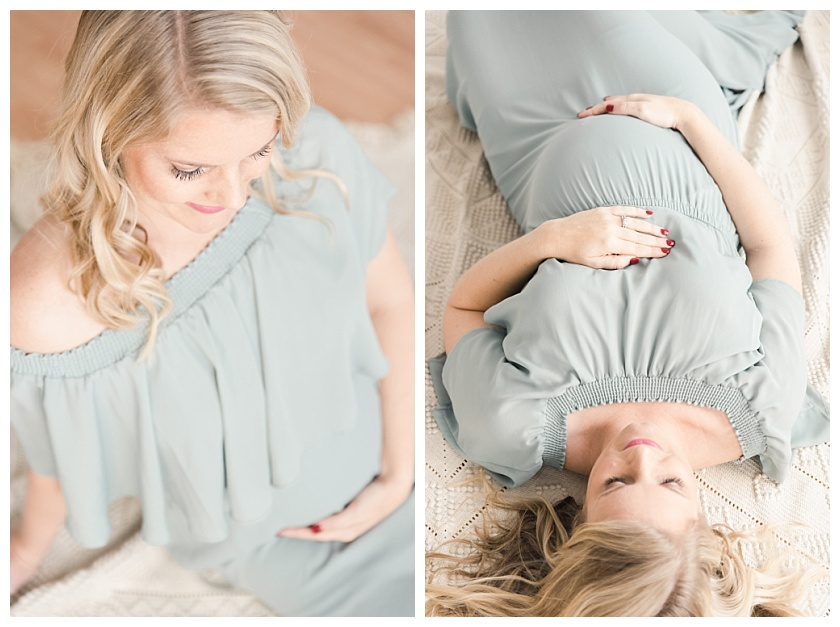maternity photos with mom lying on her back on beautiful textured blanket