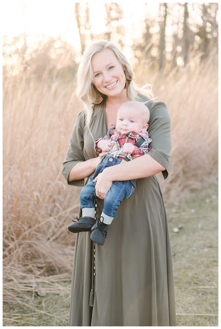 Mother with son in Cedar Falls Iowa field by Photographer Meghan Goering Photography