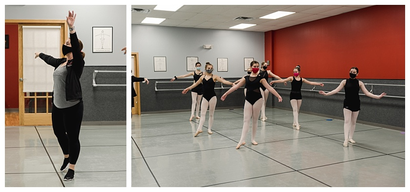 Collage of National Dance Academy instructor and her ballet class praacticing