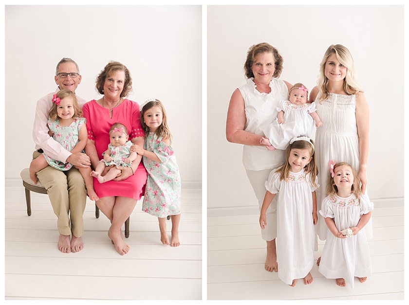 Generational photo with grandmother, daughter, and granddaughters by meghan goering photography