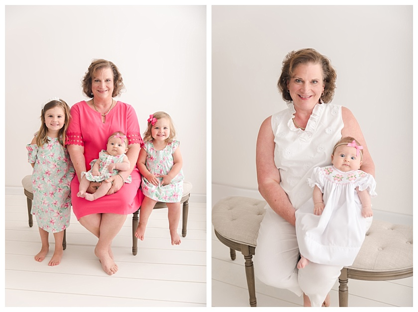 grandmother with granddaugthers in cedar falls photography studio by meghan goering photography