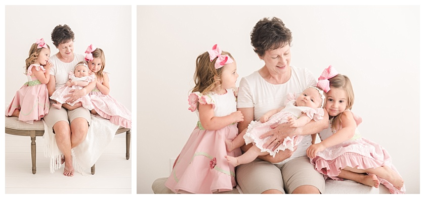 grandmother with granddaugthers sitting on a semi circle bench by meghan goering photography