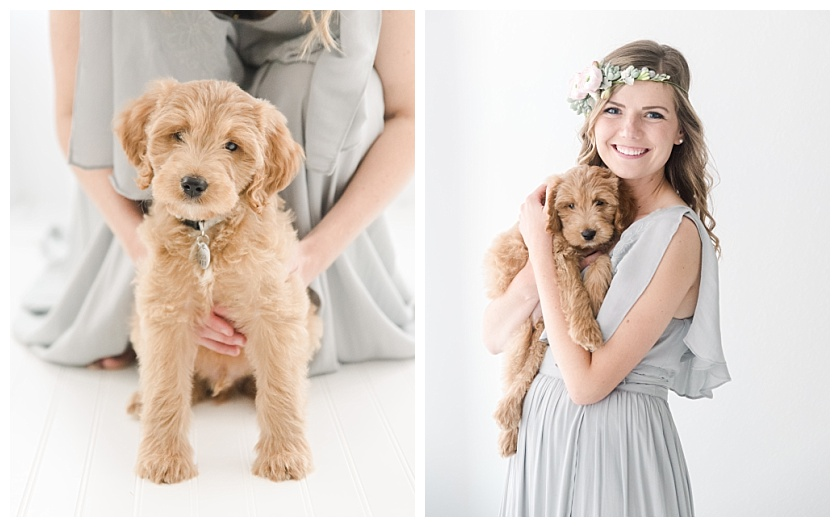 dog mom posing with tan cockapoo puppy at cedar falls photography studio