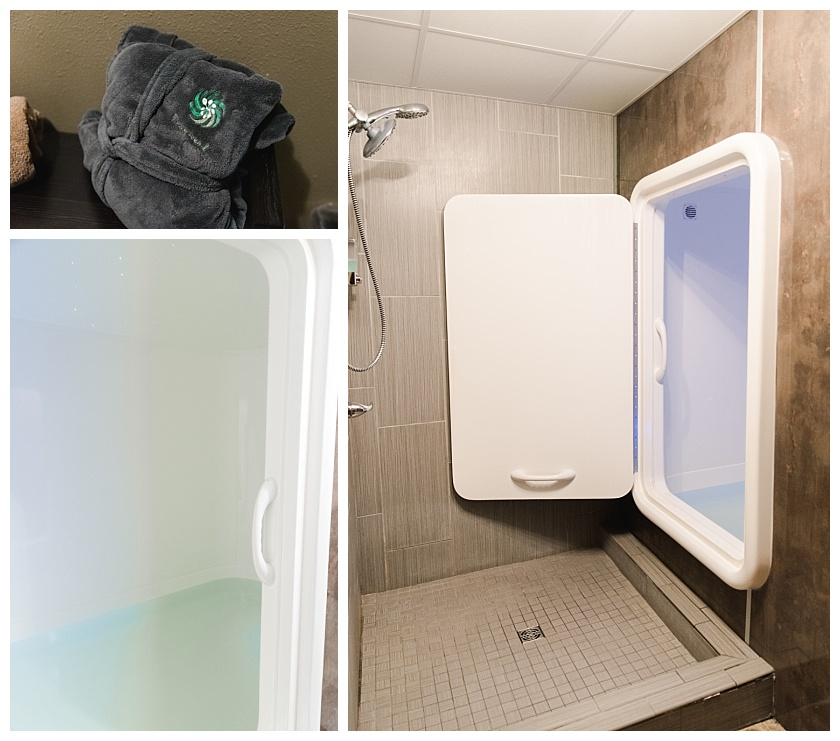 floatation room and clinic with relaxing lights and shower area to prep