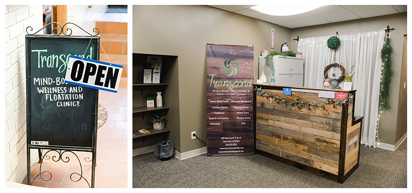 front desk at transcend wellness and floatation clinic