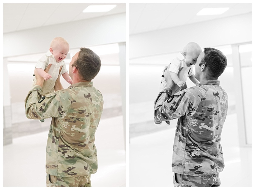 military homecoming father meets son for the first time at Cedar Rapids Airport