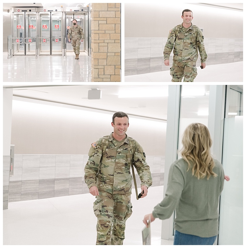 Army Military Homecoming where dad meets son for the first time
