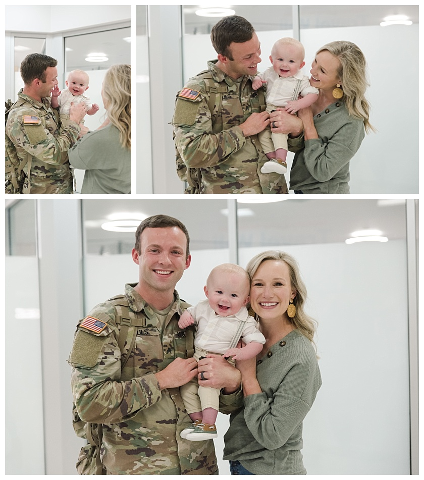 Family's first photos together at military homecoming in Cedar Rapids Airport