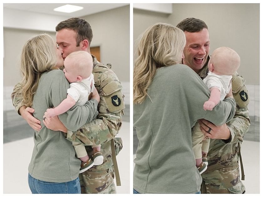 Army father meets son for the first time at military homecoming in Cedar Rapids Airport