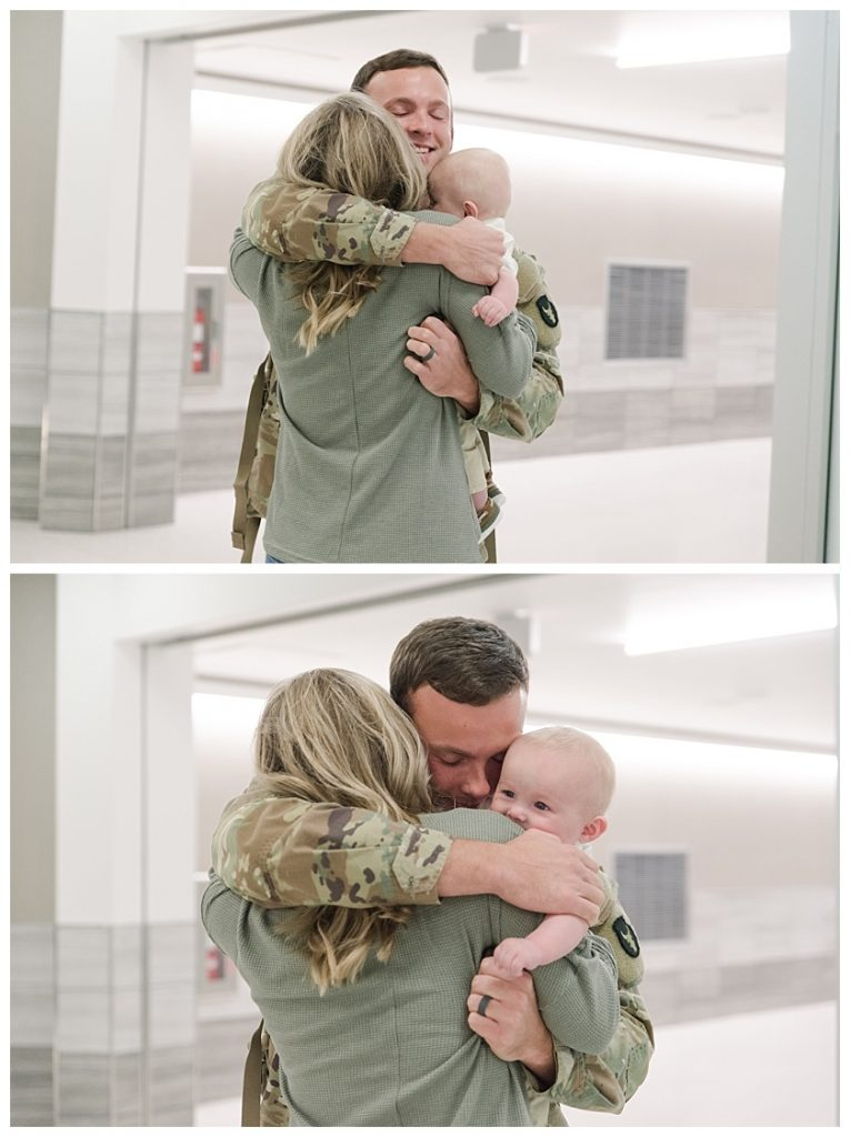 army father embraces his family for the first time after being deployed