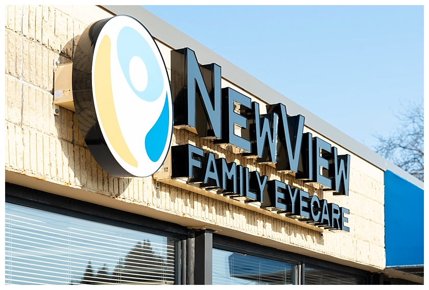 Newview Family Eyecare Sign on Waterloo, IA building