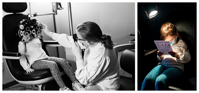 Child sits still for eye doctor as she receives her first exam